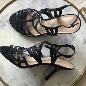 Franco Sarto Lia Black Strappy Heels